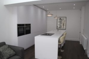 Island of Kitchen using Corian Worktops