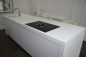 Corian Worktops on Kitchen Island with Cooker and Sink Installed