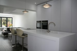 Full View of Kitchen in Leeds with White Corian Worktops
