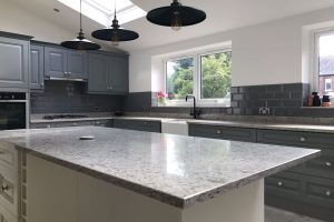 Luxury solid kitchen worktop on Island