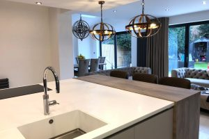 Corian Glacier White seamless oversized worktop with an integrated sink