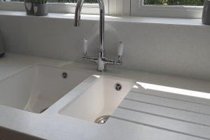 Sink built in Corian Coloured Kitchen Worktop