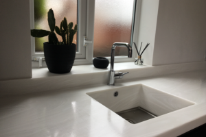 Modern Corian Worktops with Integrated Sink